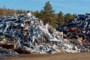 two heaps of scrap metal