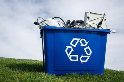 Computer parts in recycling bin